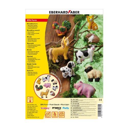 Preisvergleich Produktbild Eberhard Faber 570430 Modellierform EFAForm Farmtiere, 8 teilig