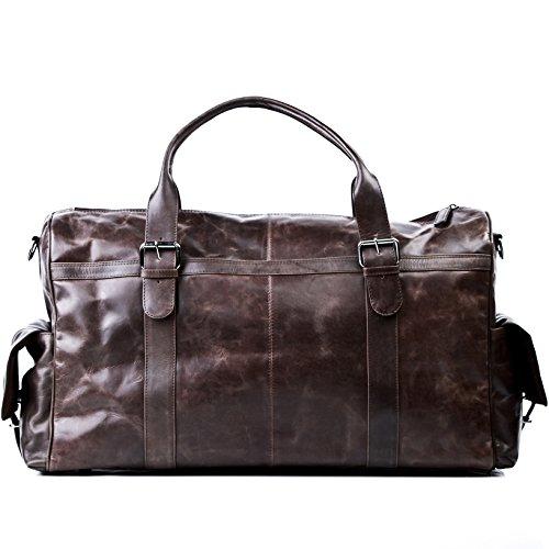 FEYNSINN Reisetasche Leder ASHTON XL groß Sporttasche groß Herren 38l Weekender echte Ledertasche Herrentasche 60 cm braun