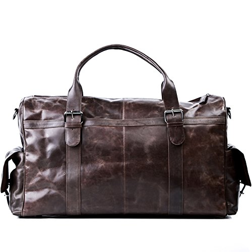 FEYNSINN Reisetasche echt Leder Ashton XL groß Sporttasche groß Weekender Ledertasche Herren 60 cm braun