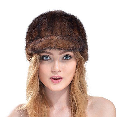 Vemolla lussuoso berretto invernale per donne a maglia in vera pelliccia di visone con tesa marrone