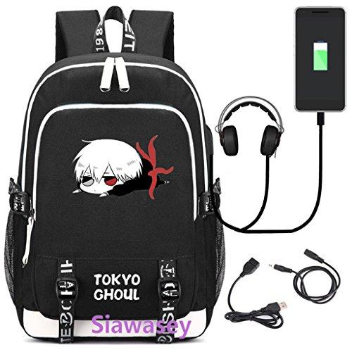 Siawasey Tokyo Ghoul Anime Cosplay Rucksack Daypack Schultasche Laptop Schule Tasche mit USB-Ladeanschluss