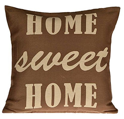 Kissenhülle SWEET Kissenbezug Dekokissen Kissen Hülle Shabby Chic Landhaus 45x45 (Home sweet home Braun) (Shabby Chic Kissenbezug Shabby)