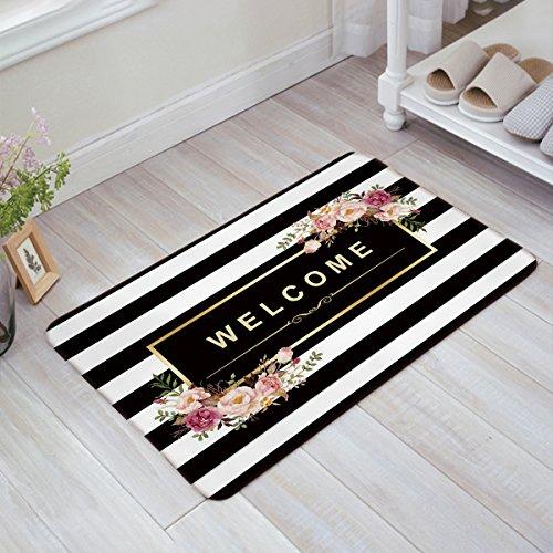 Infinidesign Welcome-Fußmatte für Küche Boden Bad Eingang Teppich Innen Tür Dünne Matten Gummi rutschfest schwarz und weiß gestreift Floral Welcome 20