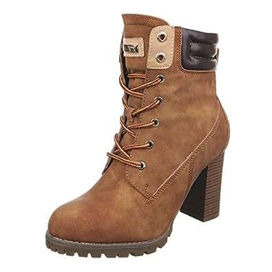 Ital-Design Schnürstiefeletten Damen-Schuhe Schnürstiefeletten Pump Schnürer Schnürsenkel Stiefeletten Grau, Gr 37, A-55-