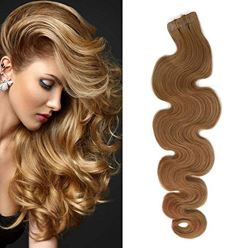 Tape Extensions Echthaar Strawberry Blonde Body Wave Human Hair Tape in Hair Extensions 50grams 20 Tressen x 4 cm breit Soft Heat Resistant Body Wave Tape in Blonde Extensions(20Zoll,#27) - Strawberry Hair Extensions