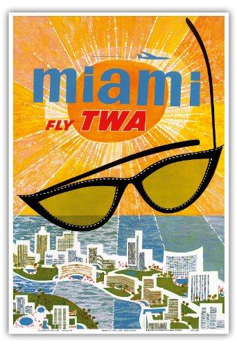 Vintage Anzeigen Florida (Miami, Florida - Trans World Airlines Fliegen TWA - Vintage Retro Fluggesellschaft Reise Plakat Poster von David Klein c.1960s - Kunstdruck - 33cm x 48cm)