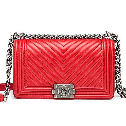 Macton Lammfell V Muster Kette Tasche Dame Schultertasche MC-5016 (rot) (Lammfell Handtasche Rot)