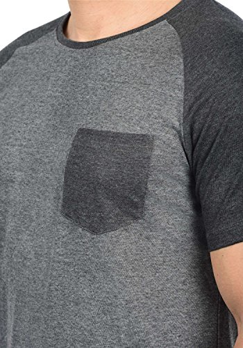 Indicode Gresham Herren T-Shirt Kurzarm Shirt Rundhalsausschnitt Brusttasche Aus Hochwertiger Baumwollmischung Meliert Grey Mix 914