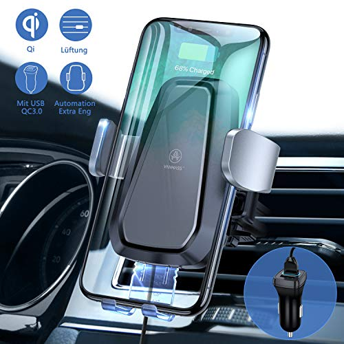VANMASS Wireless Charger Auto Handyhalterung Lüftung Automatisch 10W Kfz-Sets mit QC3.0 Auto Ladegerät Induktive Schnellladegerät 3 in 1 Phone XS/X/8P Galaxy S10/S10+/S9/S8 und andere Qi Fähige