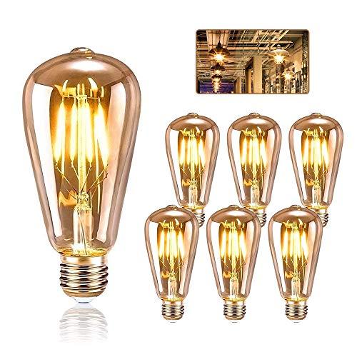 LED Edison Glühbirne E27, KIPIDA Retro Glühbirne 4W LED Vintage Beleuchtung ST64 Ideal für Retro Beleuchtung im Haus Café Bar Musikzimmer Restaurant Hochzeit Dekorationen usw, Amber Warm, 6 Stück