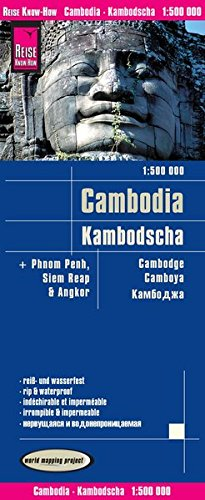 Camboya, mapa impermeable de carreteras. Escala 1:500.000 impermeable. Reise Know-How. por VV.AA.