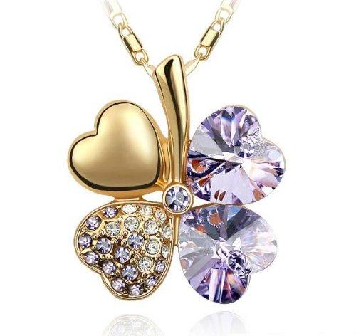 Exquisite Kristall Four Leaf Clover Flower Herz-Anhänger Gold Halskette Kette mit österreichischen Kristallen Tanzanite Lila - Geschlagen Herz