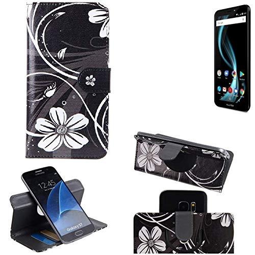 K-S-Trade® Schutzhülle Für Allview X4 Soul Infinity L Hülle 360° Wallet Case Schutz Hülle ''Flowers'' Smartphone Flip Cover Flipstyle Tasche Handyhülle Schwarz-weiß 1x