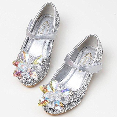 Amur Leopard Ballerine Bling Fille Chaussure à talons chaussure princesse spectacle diamant Argent