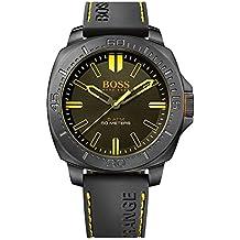 Boss 1513249 Sao Paulo Reloj de acero inoxidable con banda de silicona de Hugo Boss, para Hombre, color negro y naranja