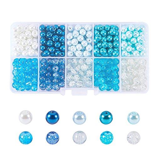 PandaHall 1500pcs 4~ 4.5mm Perlen Glas mit Perlen von Glas Crackle Perlen bunt rund für Schmuck Basteln, 4~ 4.5x 4mm, Loch: 1mm, ca. automatischen Befestigung/Abteilung - Ca Abteilung