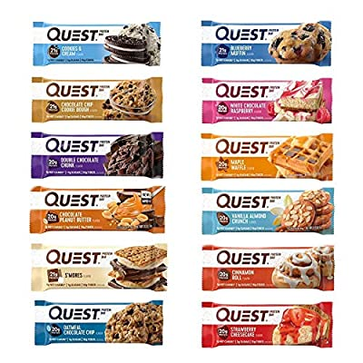 Quest Nutrition Protein Bar Adventure Variety Pack. Low Carb Meal Replacement Bar w/ 20g+ Protein. High Fiber, Soy-Free, Gluten-Free (12 Count) 1 of Each Flavor !! by Quest Nutrition