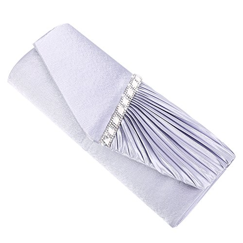 Clorislove Elegant Strassstein Damen Abendtasche Handtasche Umhängetasche Brauttasche mit Kette Clutch(Silber) Silber