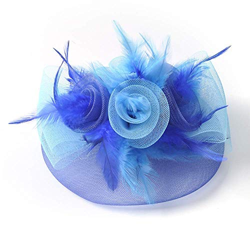 Fascinator Hat, Blume Feder Netz Mesh Schleier Kentucky Derby Tea Party Hochzeits-Hut Mit Haarclip Und Haarband Für Frauen Oder Mädchen,Blue