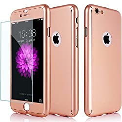 Hybrid 360° Shockproof Case Tempered Glass Cover Apple Iphone 8 7 5 5s Se 6 6 Plus 6s Plus 7 Plus & 8 Plus (For Iphone 8, Rose Gold)