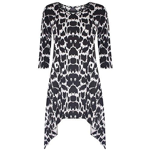 Damen Gemustertes Dehnbar Damen 3/4 Ärmel Ausgestellt Zipfelsaum Lang Jerseykleid Top Monochrome Leopard - Promi-inspiriert Ausgestellt