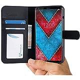 LG V30 Hülle [Abacus24-7® Bookstyle] Tasche für LGV30 Handy-hülle / Leder-tasche mit Ständer Fächern für Karten Bargeld, Handytasche, Klapphülle LG V30 Schutzhülle Case Cover - Schwarz