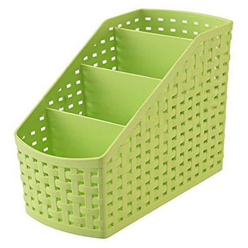 Aufbewahrungsbox aus Kunststoff, 4Fächer, für Büromaterial oder als Kosmetikbehälter, plastik, grün, Einheitsgröße