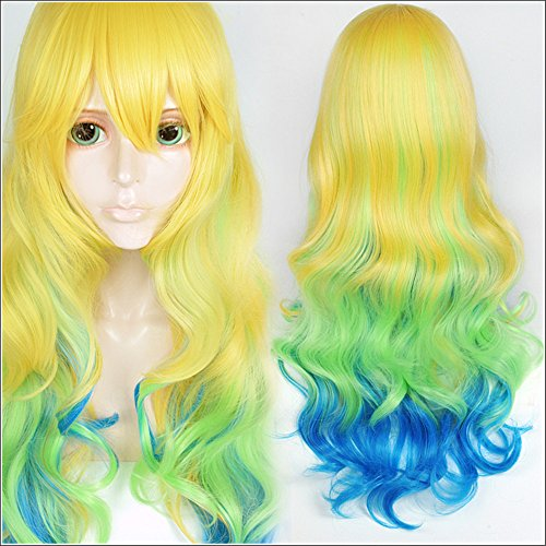 (LanTing Cosplay Perücke The Maid Dragon Of Kobayashi-San Blonde Mix Green Blue Curl Lange Perücke Cosplay Party Fashion Anime Human Costume Full wigs Synthetic Haar Heat Resistant Fiber)