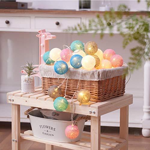 Dekorative Lichterkette LED Baumwolle Ball Lichterkette dekorative Lichterkette Startseite Mädchen Herz Farbe Lichterketten (Flash Baumwolle Bälle)