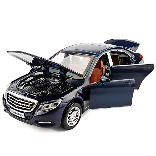 RENJUN Modellauto Maybach S600 Modell 1:32 Simulation Druckgusslegierung Modelllichtmusik 6 Tür kann Kindergeschenke öffnen (Farbe : Dark Blue)