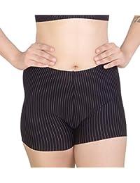 PLUMBURY® Women's Ice Silk Seamless Smooth No Show Boyshort Panty,Free Size,Black