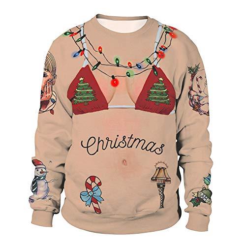 3D Unisex Männer Frauen Hässliche Weihnachten Pullover Urlaub Santa Elf Pullover Lustige Damen Herren Sweatshirt Sweater Herbst Winter Kleidung,D