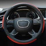 Hivel Anti Rutsch Lenkradbezug Echt Leder Lenkradhulle Universal Atmungsaktiv Lenkradschoner Fahrzeug Auto Lenkradabdeckung Vehicle Genuine Leather Car Steering Wheel Cover 38cm - Rot
