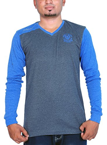 Henry Cotton Men's V Neck Full Sleeve T Shirt (Charcoal and Blue_M)  available at amazon for Rs.449