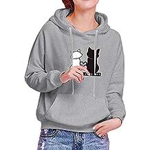 Cebbay Sweat-Shirt Capuche Femme Sweat À Capuche Imprimé Oreille de Chat Pull Sport Manches Longues Sweatshirts Tops Chemisier Pullover Poche