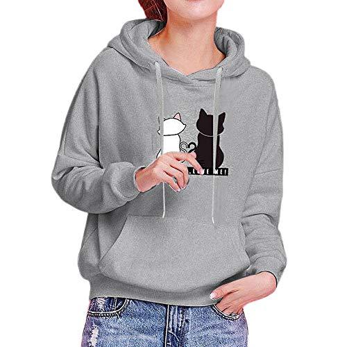 OverDose Damen Urlaub im freien Stil Womens Mädchen Langarm Hoodie Sweatshirt Lässig Täglich Wandern Schlank Mit Kapuze Mode Winter Herbst Tops Pulloveruff08Grauuff0cEU-40/CN-L uff09