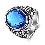Los hombres de la vendimia cubic zirconia anillo de acero inoxidable anillo de banda ancha para los...