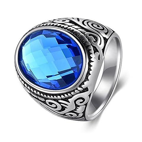 Herren Vintage Cubic Zirkonia Ring Edelstahl Ring Wide Band f¨¹r Teens Silber Ton (Gutschein Amazone)