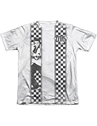 Elvis Presley Checkered Bowling Shirt Mens Sublimation Shirt WHITE MD