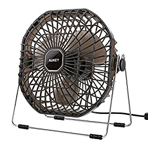 """AUKEY USB Desk Fan 7"""" Ultra-Quiet, Powerful with on / off Switch Cooling Fan for PC and Laptop, Black"""