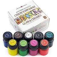 Nevskaya Palitra Porzellanfarbe | 9 x 20 ml Näpfchen | Glasmalfarben Set - deckend