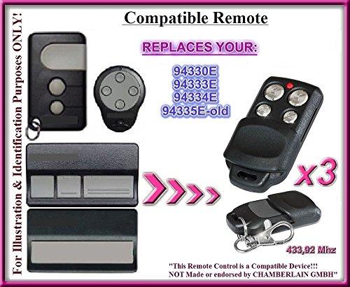3x Chamberlain 94330E/94333E/94334E/94335e-old kompatibel Fernbedienung Sender 433,92MHz.