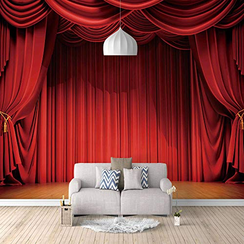 Seide Fototapete Aufkleber Rote Bühne 3D Wandbild für Schlafzimmer Wohnzimmer Küchen Wandkunst Dekoration Poster 400x280cm -