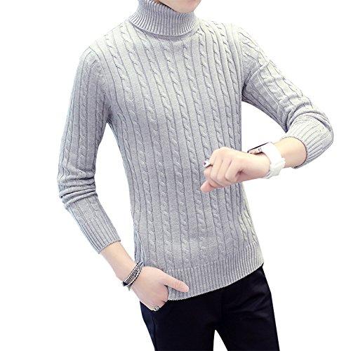 BOMOVO Herren Dickes Solide Rollkragen Strickpullover Pullover Sweatshirts Slim Fit Grau