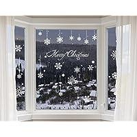 100-er Set Schneeflocken Fensterbilder – statisch haftende PVC Aufkleber als Fensterdeko mit Schneekristallen und Schneesternen – wiederverwendbar mit 50mm Durchmesser