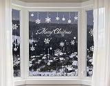 100-er Set Schneeflocken Fensterbilder - statisch haftende PVC Aufkleber als Fensterdeko mit Schneekristallen und Schneesternen - wiederverwendbar mit 50mm Durchmesser