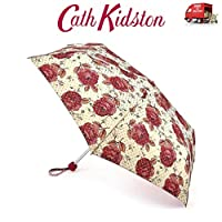 Cath Kidston Jaquard Rose Folding Umbrella Minilite Handbag Size & Cover 8F3732