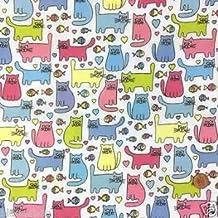 Siempre hacer punto y costura – Cheeky diseño de gato tela de polialgodón 112 cm de ancho, multicolor por medio metro