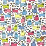 Always Knitting And Sewing - Cheeky Kitty Cat polycotton fabric 112cm wide multicoloured per half metre