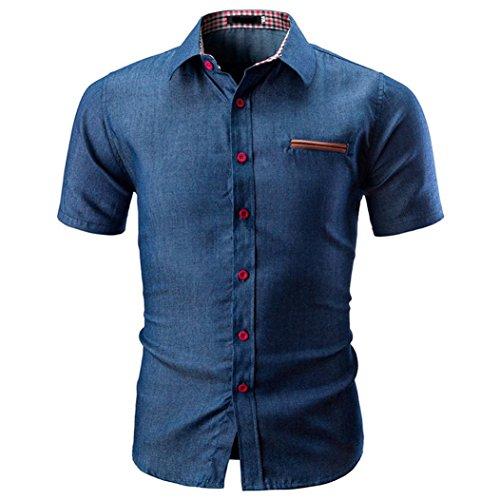 Preisvergleich Produktbild Zarupeng Hemd-Art und Weise Slim Fit Shirt Oberteile Einfarbig Herren Basic T-Shirt Business Casual Kurzarm-Hemd (XL,  Marine)
